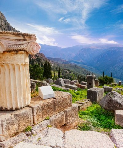 Delphi is famous as the ancient sanctuary that grew rich as the seat of Pythia, the oracle consulted about important decisions throughout the ancient classical world. Moreover, the Greeks considered Delphi the navel of the world, as represented by the stone monument known as the Omphalos of Delphi.